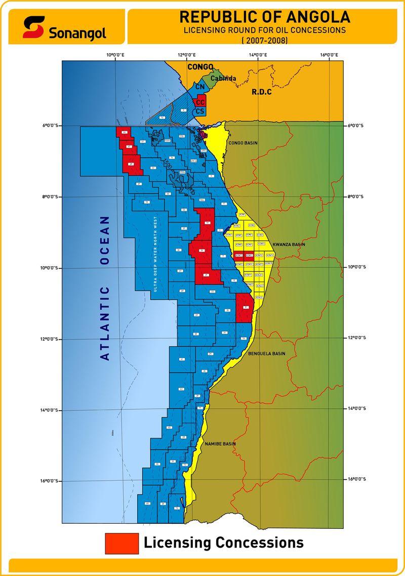 2009 Angola oil concession map