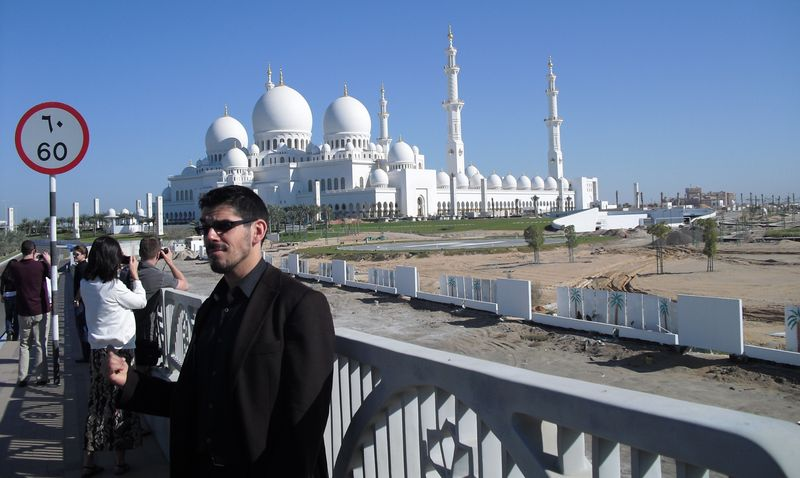 In front of the grand mosque of abu dhabi