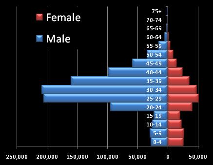 Dubai 2005 population pyramid