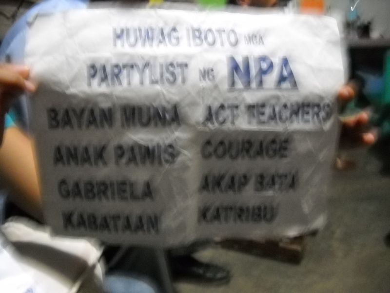 Army flyer reading don't vote for the NPA party list