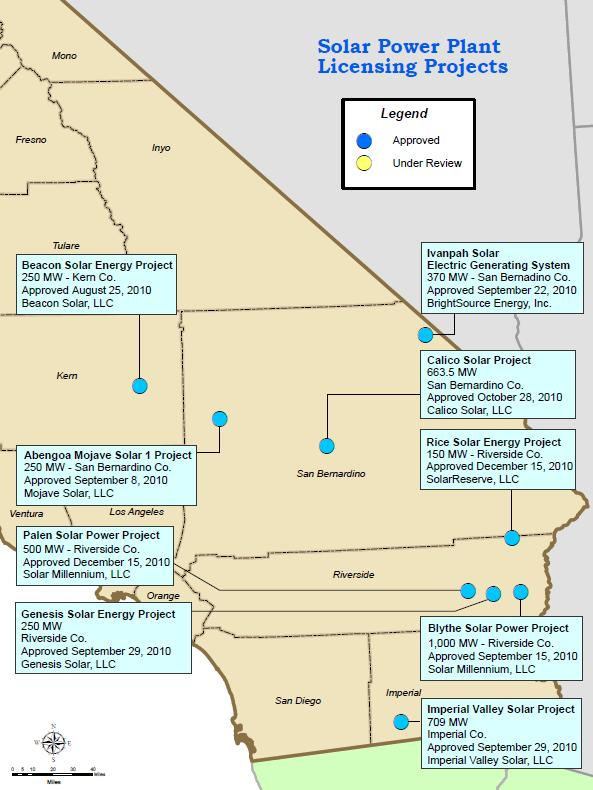 California solar thermal projects