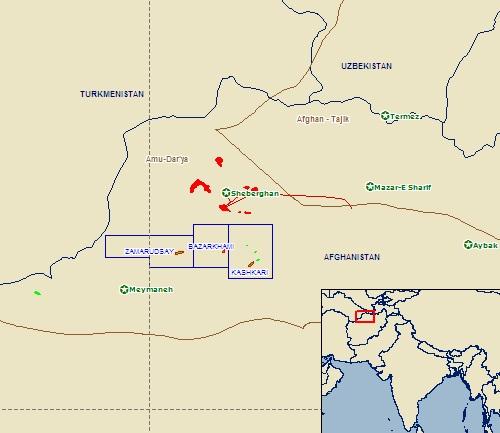 Amu-Darya oilfields map