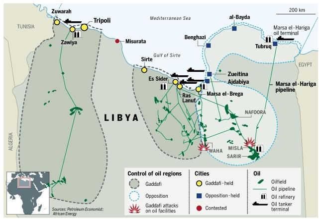 Libya oil map, 18 April 2011
