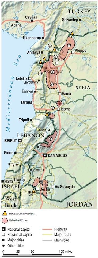 Rebel-held areas, 1 July 2012