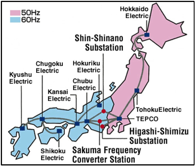 Map of Japan's frequency frontier, with converter stations