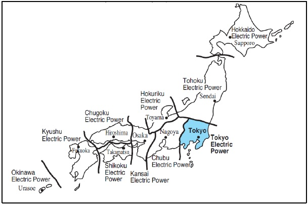 Map of Japanese utility areas