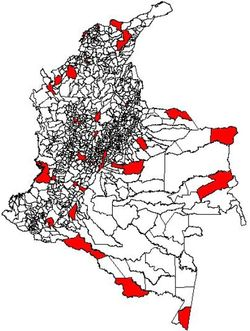 Counties with Colombian military bases