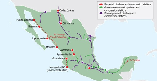 Mexico pipeline map