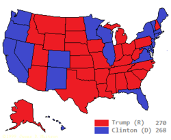 US electoral map, 2016, Trump v Clinton and Trump wins