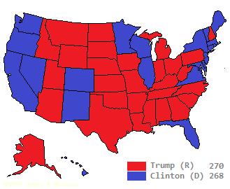 US electoral map, 2016, Trump v Clinton and Trump wins
