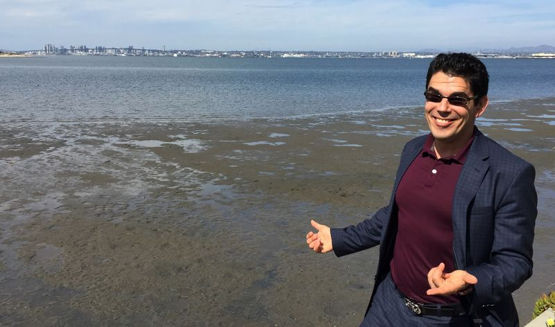 Noel Maurer, enjoying California's ugliest beach