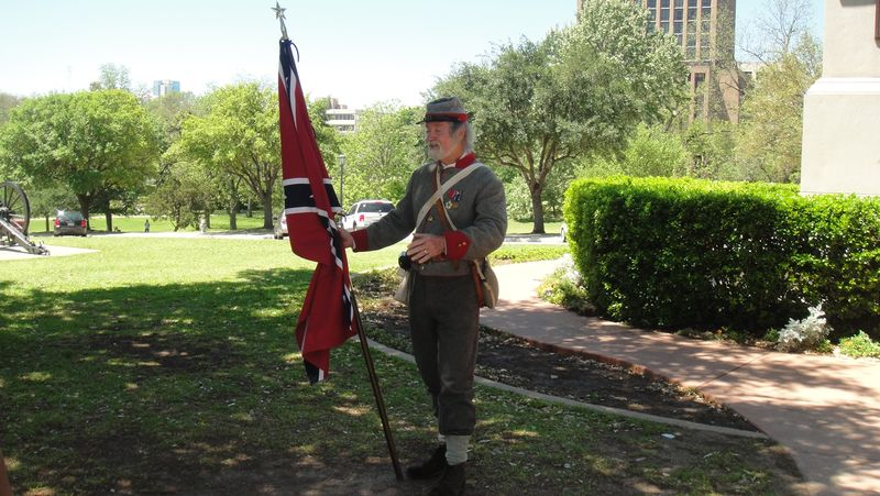 A Confederate re-enactor on the grounds of the Texas state capital