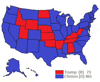 US electoral map, 2016, Trump v Clinton