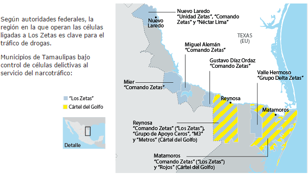 Map of Zetas and Gulf Cartel control in northern Tamaulipas, 2015